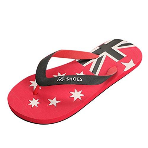 Price comparison product image Sunbona Men Flip Flops Slipper American Flag Summer Anti-Slip Flat Bath Slipper Sandals Indoor Outdoor Shoes (US:8, Red)