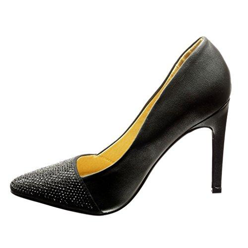 Angkorly - Scarpe da Moda scarpe decollete stiletto donna strass Tacco Stiletto tacco alto 11 CM - Nero