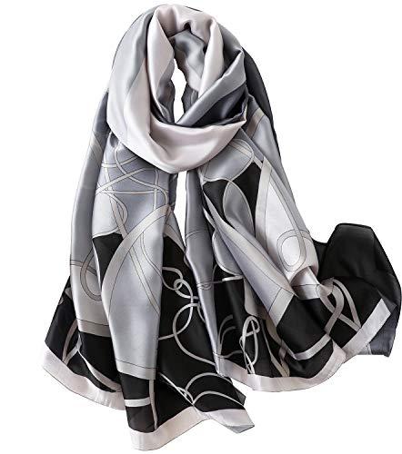 (NUWEERIR Womens 100% Mulberry Silk Scarf Long Satin Scarf Fashion Designer Scarf Lightweight Neck)