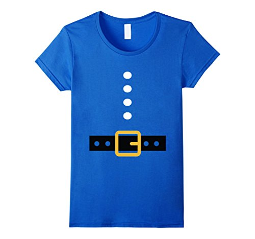 Homemade Costumes Beard (Womens Santa Christmas Easy and Funny Costume Shirt Small Royal Blue)