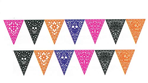 Mexican Papel Picado 8.5 ft Double Sided Triangle Flag Bunting Pennant Banner for Dia de Muertos Mexican Parties, 13 Flags, Pack of -
