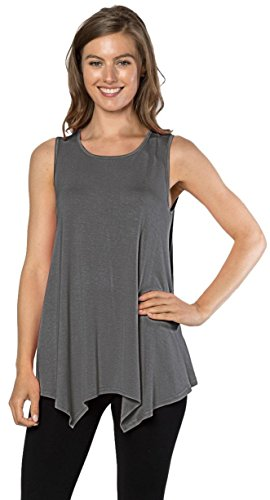 Velucci Womens Tunic Tank Top T-Shirt - Loose Basic Sleeveless Tee Shirt Blouse, (Charcoal-M)