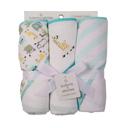 Buttons and Stitches 3 Piece Infant Hooded Towel, Giraffe Prints ()