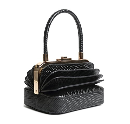 Qidell Women's Snakeskin Embossed Leather Designer Clutch Bag Evening Clutch Tote Purse Evening Bag (Black) ()