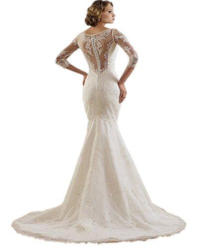 Ikerenwedding de la mujer cuello en V 3/4Manga Encaje Flora corte tren de sirena vestido de novia Marfil