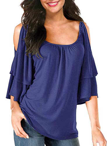 (BBX Lephsnt Women's Summer Cold Shoulder Ruffle Sleeve Loose Stretch Tops Tunic Blouse Shirt Royal)