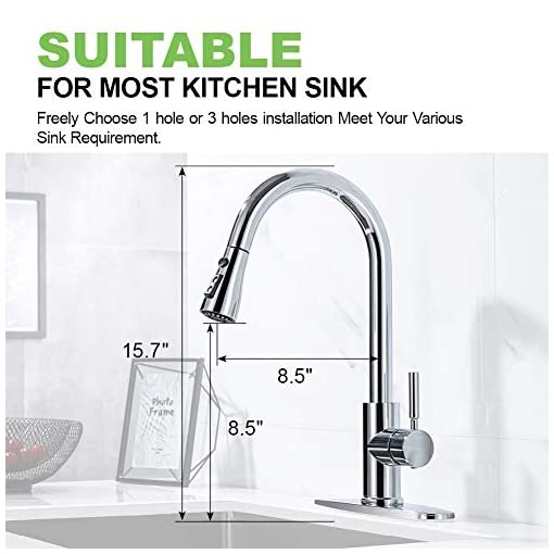 Kitchen Sink Faucet, Pull Down Kitchen Faucet with Sprayer Low Lead Commercial Modern Stainless Steel rv Farmhouse Kitchen… modern sink faucets