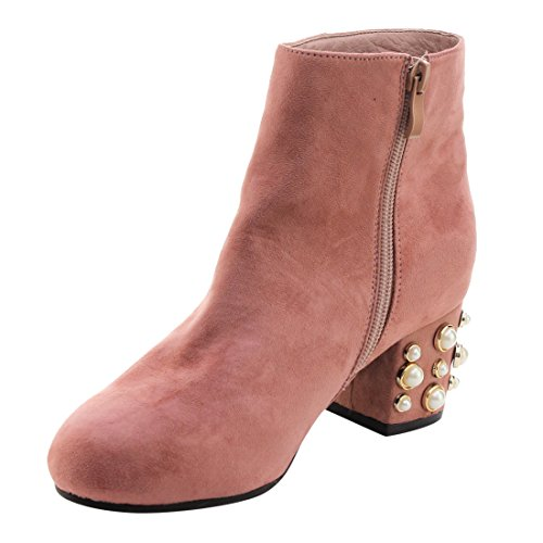 Med Chunky Booties Blush Ankle Womens FL41 DBDK Heel Dress Zipper wBavcqI