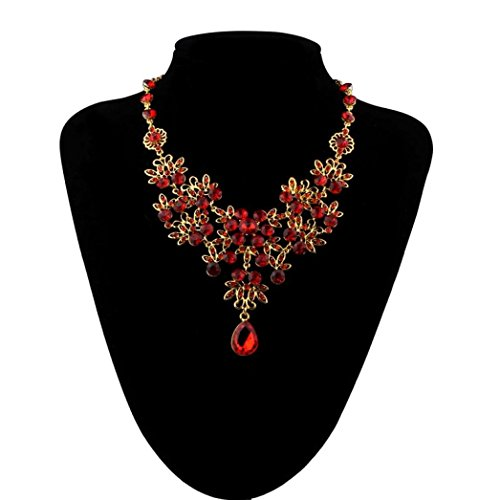 Earrings, Hatop Prom Wedding Bridal Jewelry Crystal Rhinestone Necklace Earring Sets (Red)