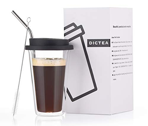DICTEA Glass Travel Coffee Mug with Lid - Double Wall Thermo Insulated On The Go Tumbler, 12 Ounces, Black