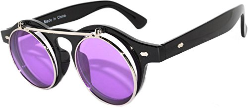 Steampunk Retro Gothic Vintage Hippie Colored Metal Round Circle Frame Sunglasses Colored Lens OWL (FlipUP_C3_Blk_Purple, PC - Sunglasses Men Online
