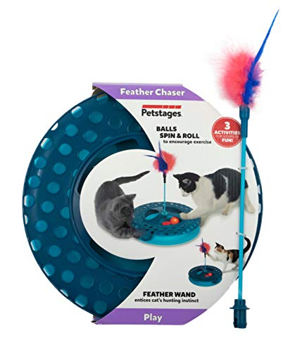 Petstages Feather Chaser Track – Cat Ball Chaser Track and Feather Wand – Interactive Cat Toy for Kitty Exercise – Ideal…