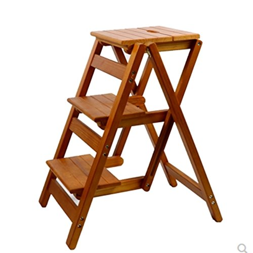 CAIJUN Ladder Stool All Solid Wood Environmentally Friendly Paint Multifunction Foldable Wholesale Simple, 2, 3 Step Ladder Dual-use (Color : E-3-story ladder)