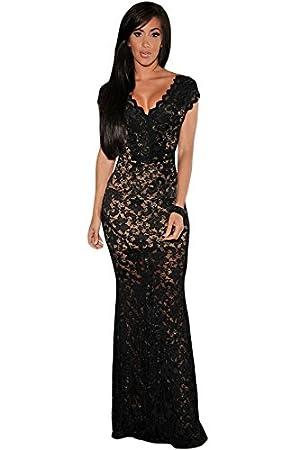 Nuevo Negro y Beige flores encaje largo vestido de cóctel vestido de noche vestido de prom