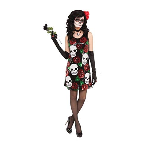 Skulls & Roses Sequin Dress Adult Womens Costume Day of The Dead for $<!--$50.06-->