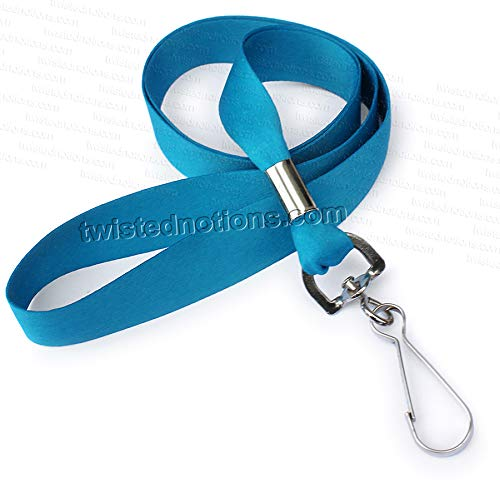 - Ultra Soft Luxury Lanyard for Keys or ID - Made in USA - Solid Teal Blue