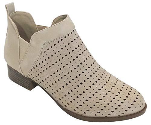 TravelNut Best Sexy Fashion Ethnic Western Short Cute Heel Ankle Bootie Shoe for Women Teen Girls (Beige Size 9) -