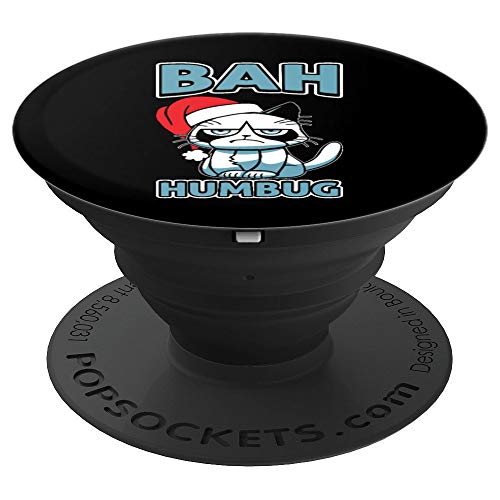 Bah Humbug Cat Santa Hat Anti Xmas Holiday Grumpy Scrooge - PopSockets Grip and Stand for Phones and Tablets