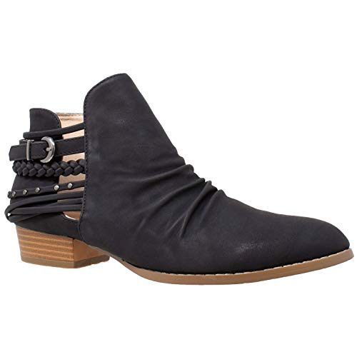 Buckle Chukka - SOBEYO Womens Ankle Boots Western Block Heel Bootie Strappy Stud Buckle Shoes Black Size 7.5