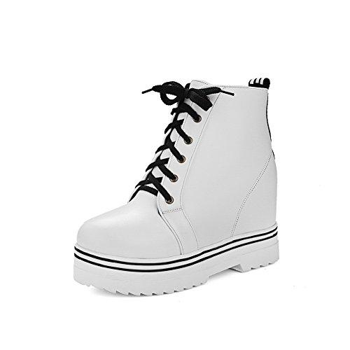 Ladies Platform Heighten White Frosted Boots Inside AdeeSu Bandage BqHnZxwdg