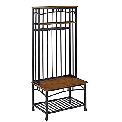 Modern Craftsman Distressed Oak Hall Tree by Home Styles - Oak veneer shelves with new age, deep brown powder-coated metal Two fixed shelves Four double hooked Coat rings - hall-trees, entryway-furniture-decor, entryway-laundry-room - 41Rabd8FRgL. SS400  -