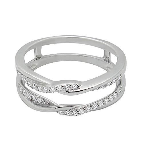 - OMEGA JEWELLERY 0.22 CT 10K White Gold Braided Style Diamond Wedding Band Enhancer for Women Size 8