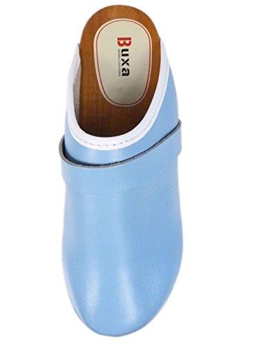 Zuecos de Cuero Unisexo con suela de Madera. Azul Azul Claro