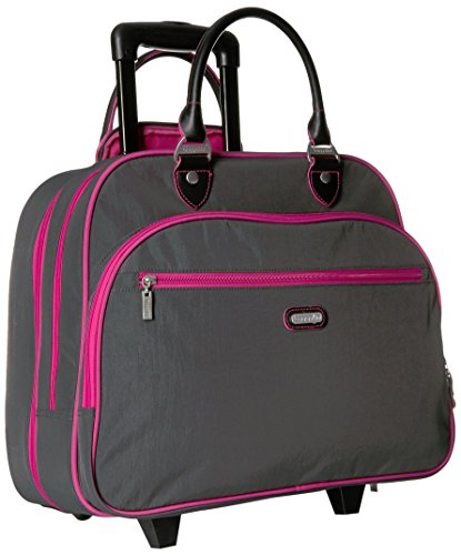Baggallini Carryon Rolling Travel Tote, Charcoal, One Size by Baggallini