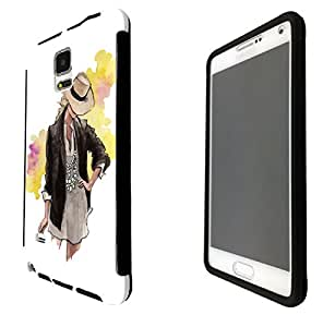 999 - Cool fun cute girls lady fashion illustration clothing shoping runway trend hat jewellery pose Design Samsung Galaxy S5 i9600 Full Body CASE With Build in Screen Protector Rubber Defender Shockproof Heavy Duty Builders Protective Cover