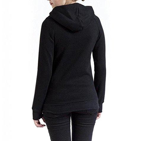Minetom Mujer Otoño Invierno Sweatshirts Moda De Cuello Alto Sudaderas Con Capucha Encapuchado Chaquetas Abrigos Negro