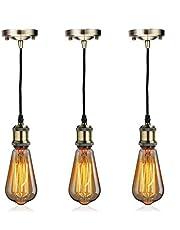 Industrial Mini Pendant Light EmyTock Single Vintage Socket E26/E27 Base Lampholder Edison Bulb Socket Black Woven Fabric Pendant Light Cord Adjustable Hanging Light Kit for Home Kitchen Island Corridor
