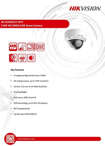 DS-2CE56H1T-VPIT 2.8MM 5MP HD CMOS EXIR Dome Camera, Hikvision NOT IP HD Over Coax Analog Dome Camera