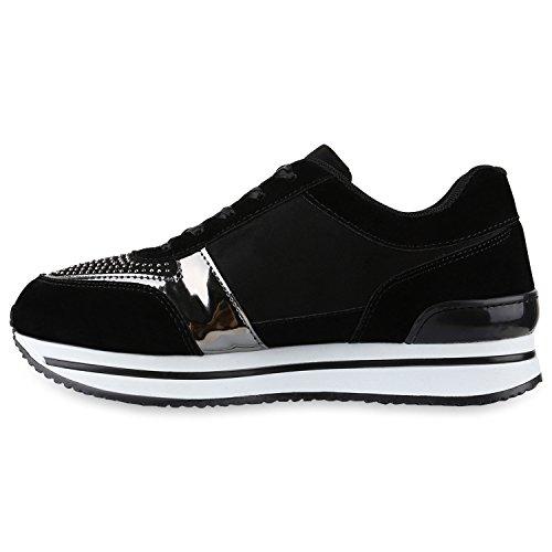 Damen Glamour Sportschuhe Runners Metallic Lack Sneakers Laufschuhe Flandell Schwarz Lack Lack