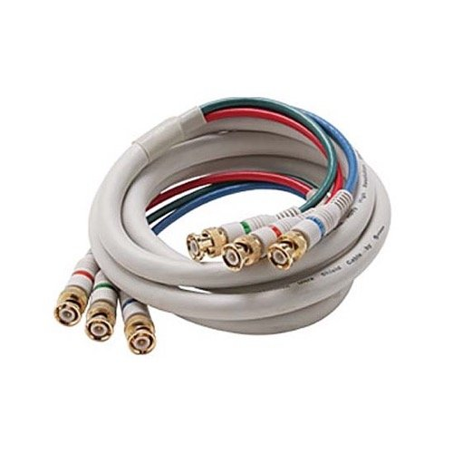 6' FT BNC Cable 3 Male Ends Each End Double Shielded R/G/B Component HDTV Python Video Cable Ivory RGB 75 Ohm Audio Video Gold Y/Pr/Pb Pro Grade Color Coded Double High Density Signal Jumper
