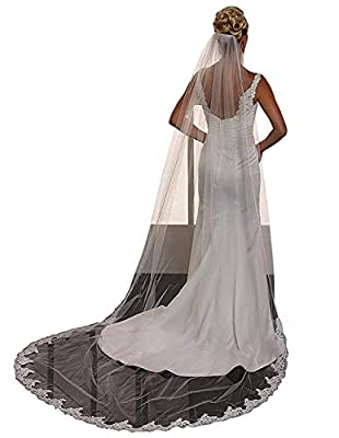 Fenghuavip 1 Tier Wedding Veils Cathedral Length Simple Lace Edge for Bride with Comb