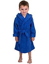 TowelSelections Big Boys' Robe, Kids Hooded Cotton Terry Bathrobe Cover-up Size 12 Blue