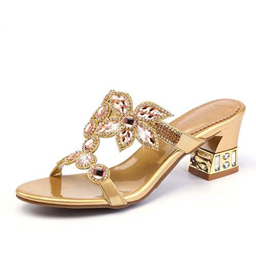 Les Sandales Été talon Nouveau Mi Diamants En Des Élégantes Strass Pantoufle Pantoufles Style Femmes gold Et Cuir 36eu Avec Hrn Portent vPmnwN80yO