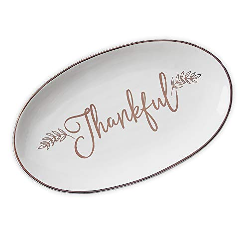 Thankful Script Laurel White Oblong 9 x 15 Inch Earthenware Serving Platter]()