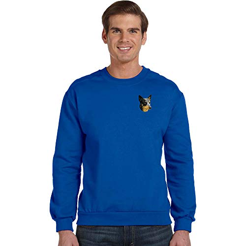 Embroidered Sweatshirt Dog Cattle - Cherrybrook Breed Embroidered Anvil Mens Crew Sweatshirt - XXX-Large - Royal Blue - Australian Cattle Dog