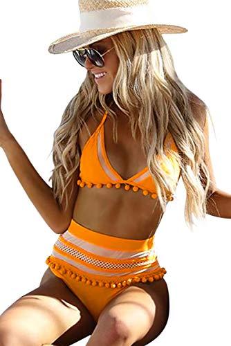 Buy yellow halter fringe bikini