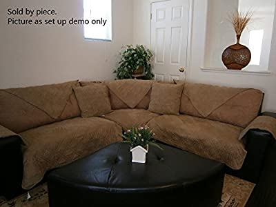 Bonded Micro Suede Quilted Sectional Deep Seats Sofa Slipcover Pad Furniture Protector Sold By Piece Rather Than Set