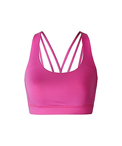 Mujer Running gimnasia yoga del sujetador de los deportes Hechizo Hilados Reunidos Profesional V-Back sujetador de los deportes Pink