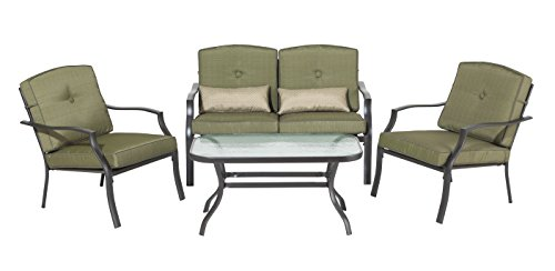 Backyard Classics Cypress 4-Piece Patio Seating Set with Sofa Chairs, Loveseat, and Glass Coffee Table