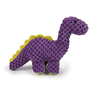 goDog 77813 Dinos Checkers Bruto with Chew Guard Technology Plush Dog Toy, Mini, Purple