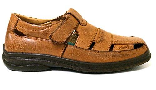 ab574638b609 Veeko 2A7203 Men s Closed Toe Dress Sandals Fisherman Huaraches Hook and Loop  Casual Slip-on