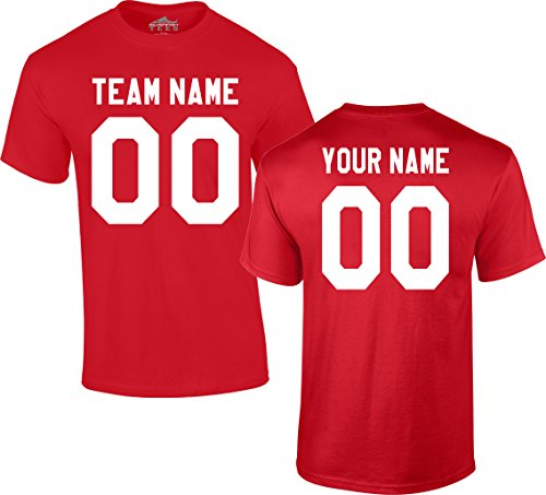 (Custom Jersey-Style Front and Back Short Sleeve T-Shirt (Unisex, Youth/Adult) - Add Your Team, Name, and Number Red)