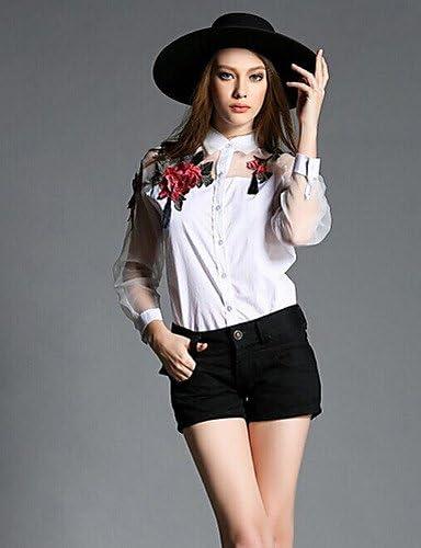 Mujer Camisa Blusa 2016 Verano Mujer Camisa – bordado organza/algodón manga larga cuello de camisa, color blanco, tamaño M: Amazon.es: Deportes y aire libre