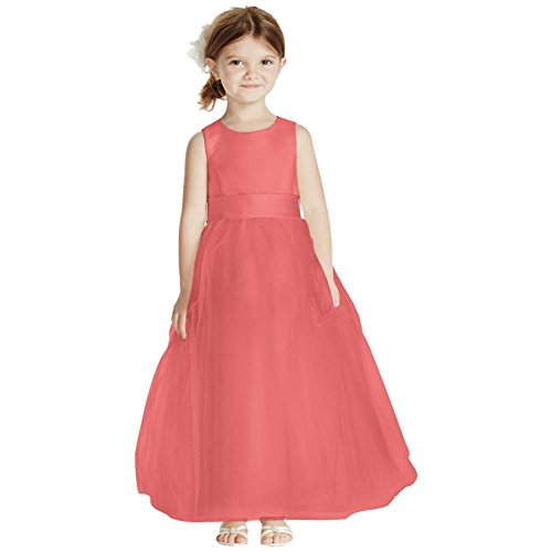 David's Bridal Satin Flower Girl/Communion Dress with Tulle Skirt Style S1038, Coral Reef, 5 by David's Bridal