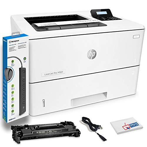 HP Laserjet Pro M501dn Monochrome Laser Printer with Built-in Ethernet and Duplex Printing (J8H61A) with Power Strip Surge Protector and Electronics Basket Cleaning Cloth