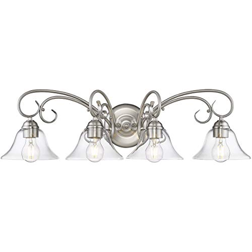 Golden Lighting 8606-BA4-PW-CLR Homestead 4 Light 32 inch Pewter Bath Vanity Light Wall Light
